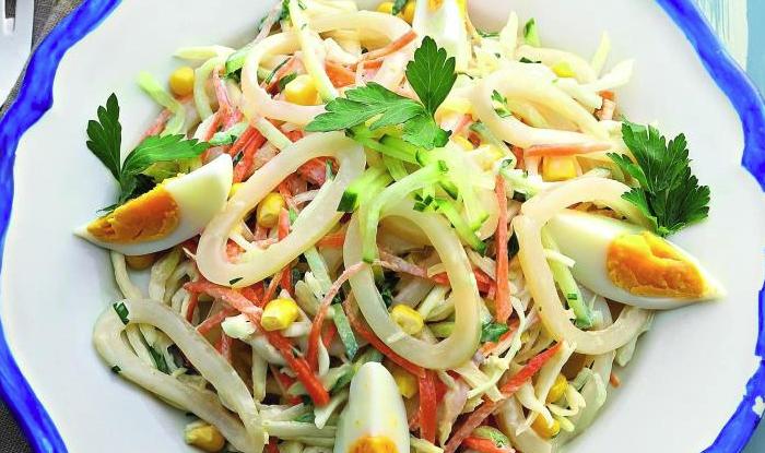 Салат из кальмара пошаговое фото